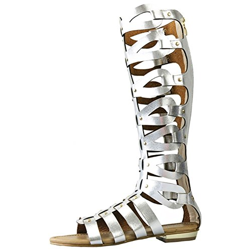 Flat Knee Sandals Silver Cut Gladiator Out Womens Boots 6zWgcqOU