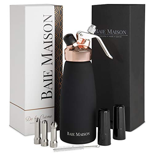 Professional Whipped Cream Dispenser - 1 Pint with 3 Nozzle Caps, Aluminum, Black and Rose Gold | Fresh, Homemade Whip Cream Maker Syphon | In Home Use for Bakers, Baristas (Gold Baker Steel)