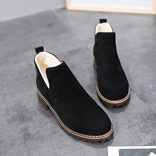 Botas Martin Otoño Mujer Largas Color Altas Pierna Botines Alto Casual De Invierno Zapatos Mujer Largo Plana returom Sólido Alta Negro Casuales Plano Ante tfHx0q