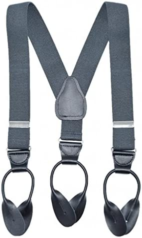 Fancy Kids and Baby Solid Color Elastic Girls Button End Suspenders - Grey (26)