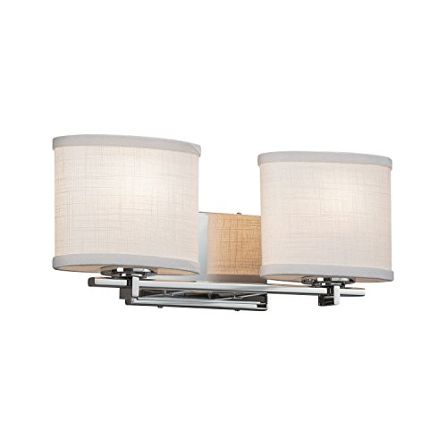 (Textile - Era 2-Light Bath Bar - Oval Woven Fabric Shade in White - Polished Chrome Finish)