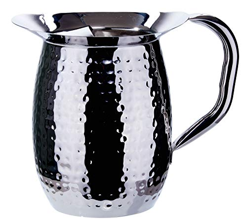 (Winco WPB-3CH, 3-Quart Stainless Steel Bell Pitcher with Ice Guard,Sophisticated Carafe, Hammered (6 PACK) )