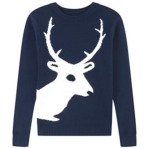 Adory Sweety Tops Sweater for Kids Baby Boy Toddler Adorable Crew Neck Cute Jacquard Knit with Reindeer Long Sleeve Pullover for Chrismas (Navy, 14Y)