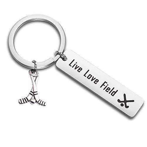 FEELMEM Field Hockey Live Love Charm Keychain Hockey Jewelry Gift for Hockey Player or Team (Silver)