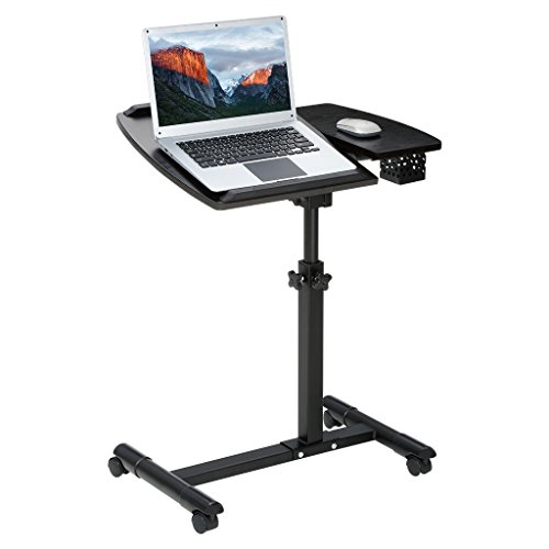 LANGRIA Laptop Rolling Cart Portable Desk with Tilting Surfaces for Right and Left-Handed Users Side Storage Basket for Stationary, Adjustable Workstation with Wheels for Home Office, Black Walnut (Rolling Computer)