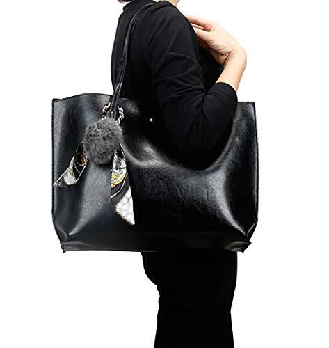 Sacs Sacs portés Cartable Cuir épaule main Faux portés à Rose Noir Femme bandoulière Sacs Sacs main DEERWORD Sacs 5qcv8Zy