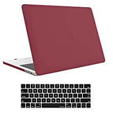 """MacBook Pro 15 Case 2018 2017 2016 Release A1990/A1707, ProCase Hard Case Shell Cover Keyboard Cover Apple MacBook Pro 15"""" (2018/2017/2016) Touch Bar Touch ID -Burgundy Red"""