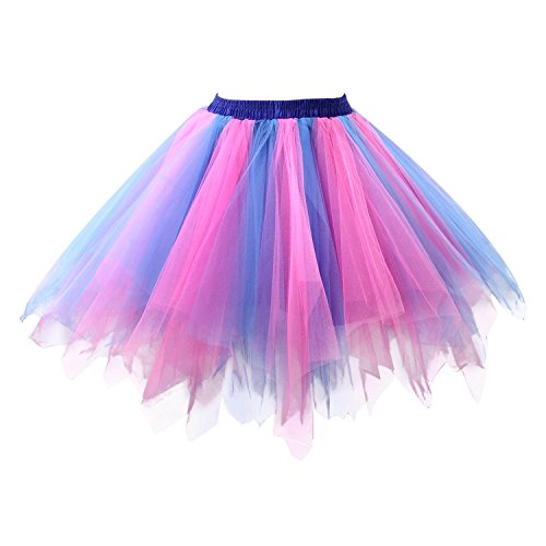 (Acecharming Girl's Ballet Tutu Skirts Tulle Bubble Classic Prom Ball Layered Underskirt(Pink and Blue)