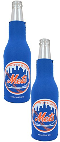 Official Major League Baseball Fan Shop Authentic MLB 2-Pack Insulated Bottle Cooler Bundle. Show Team Pride at Home, Tailgating or at The Game (New York Mets)