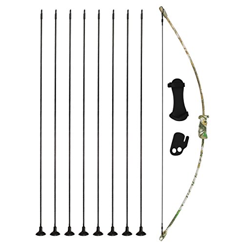 kaimei 37Inch Archery Bow and Arrow Set Recurve Bow camouflage Outdoor Sports Game Hunting Training Toy Gift Bow Kit Set with 8 Arrows with Sucker to Kids Youth -