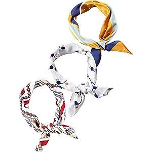3 Pieces Chiffon Scarf Square Handkerchief Ribbon Scarf Neck Scarf for Lady Girls Women Decoration