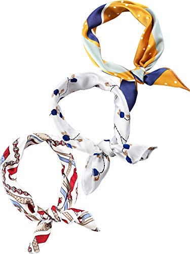 3 Pieces Scarf Square Handkerchief Ribbon Scarf Neck Scarf for Lady Girls Women Decoration (Color Set 10, 20 x 20 Inch)