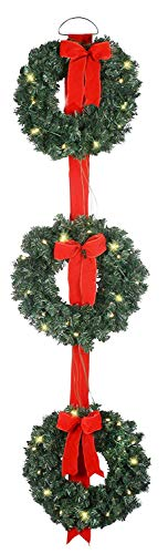 3 Pre-Lit Balsam Christmas Pine Wreaths on Red Ribbon - Battery Operated LED Lights With Timer - Hanging Artificial Pine Wreath Trio on Red Ribbon, Cordless Winter Three Wreaths on Ribbon ()