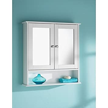 Double Door White Colour Cabinet Mirrored Bathroom Home Furniture Decorative Stylish Design By Living