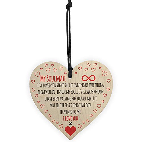 FTXJ 1pc 'Thanksgiving Christmas Mum ' Thank You Wood Heart Plaque Family Friendship Sign Friendship Decoration Love Sign Wine Tags Decor (10x10cm, A:Love 6) ()