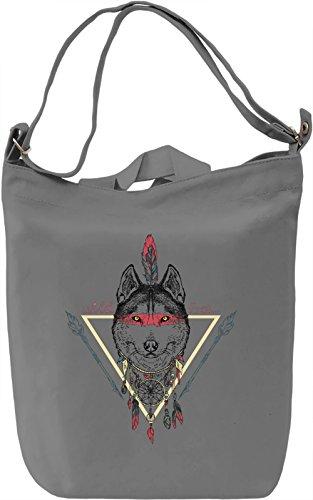 Wild Wolf Borsa Giornaliera Canvas Canvas Day Bag| 100% Premium Cotton Canvas| DTG Printing|