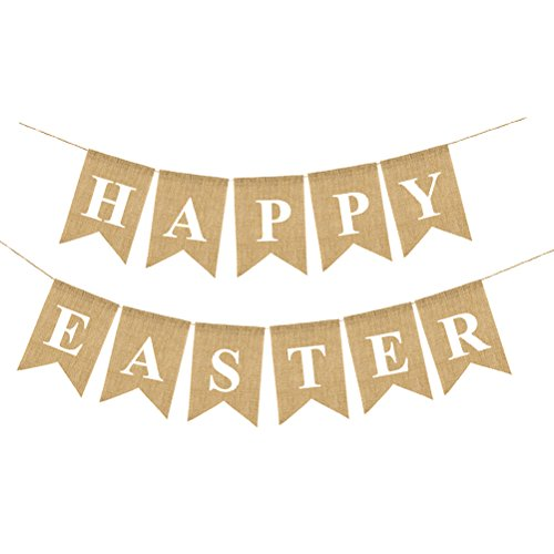 OULII HAPPY EASTER Burlap Banners Vintage Jute Bunting Garland Easter Decorations Home Party Decor Favors