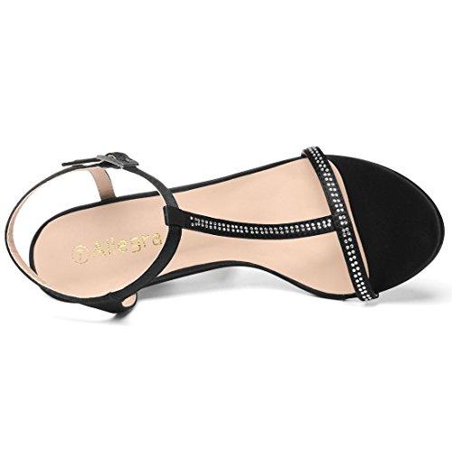 Women Rhinestone Strap K T Allegra Black Sandals zZq1wxEf5