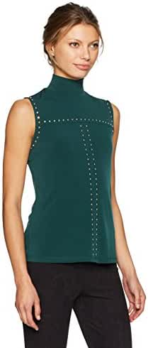 Calvin Klein Women's Sleeveless Mock Neck Top with Studs