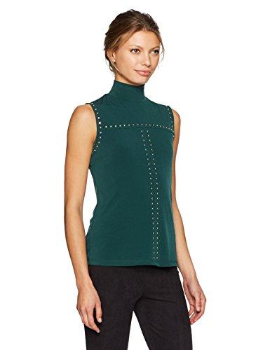 Calvin Klein Women's Sleeveless Mock Neck Top With Studs, Malachite, XL