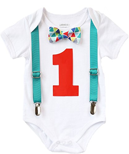 Noah's Boytique Baby Boys First Birthday Outfit Teal Suspenders colorful Print Bow Red Number 12-18 Months