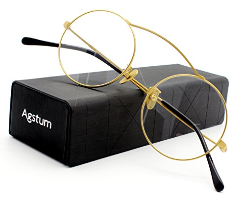 ab4266da22 Agstum Pure Titanium Retro Round Prescription Eyeglasses Frame 46mm ...