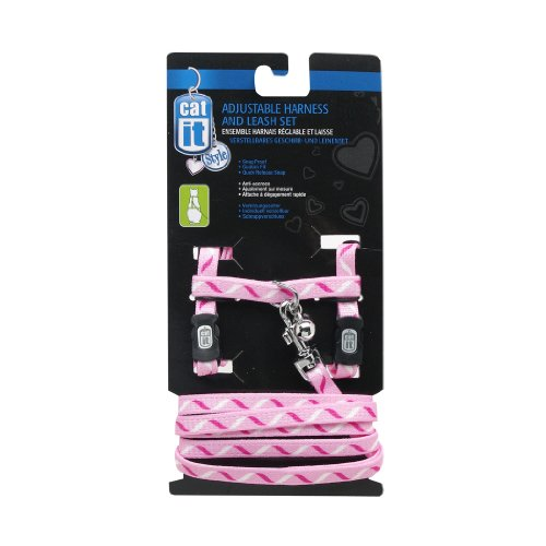 le Harness and Leash Set, large, Ribbon (Galore Pink Ribbon)