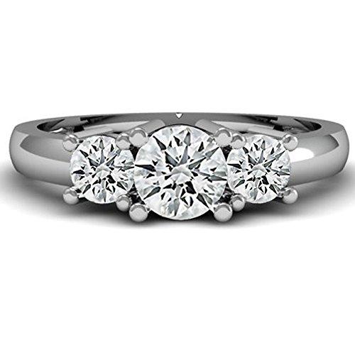 IGI CERTIFIED 1.02 Carat (ctw) 14K White Gold Round Diamond Ladies 3 Stone Bridal Engagement Ring 1 CT