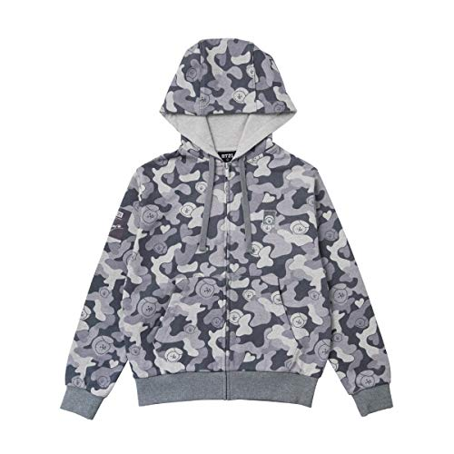 BT21 Official Merchandise by Line Friends - CHIMMY Character Camouflage Zip Up Hoodie Sweater for Men and Women, Dark Grey, Large