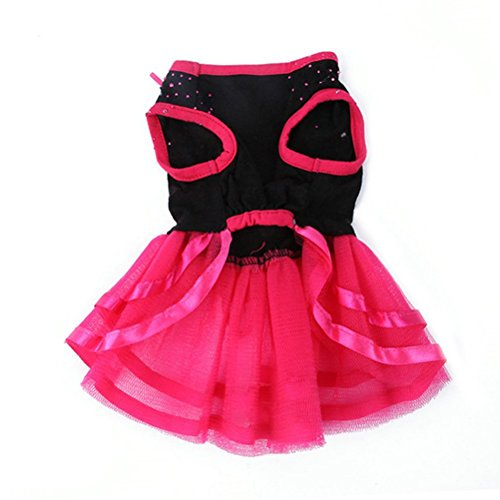 Picture of Topsung Pet Blingbling Tutu Dress Red&Black Lace Dog Skirt Small Cats/Dogs Clothes, Asia Size L