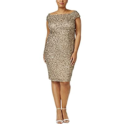Adrianna Papell Womens Sequined Off-The-Shoulder Cocktail Dress