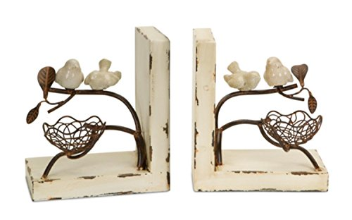 Set of 2 New Romance Distressed Cream and Rust Birds with Nest Book Ends