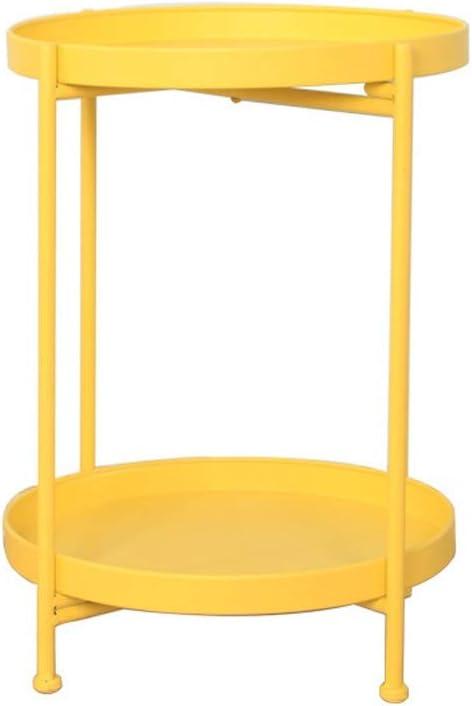 Goedkoop En Leuk Eigentijdse Salontafel Bank Side Opslagtabel Metal Round Salontafel Dubbele Verwijderbare Bak Decoratieframe 4.14 (Color : White) Yellow yJdEgBD