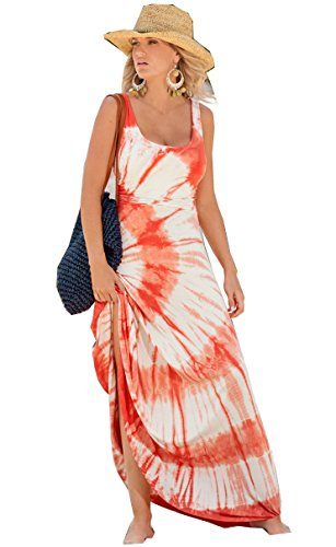 Women's Boho Sleeveless Tie-Dye Maxi Dress RacerbackTank dress (X-Large, orange)