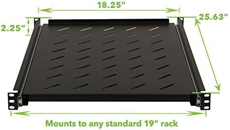 650mm NavePoint Sliding Rack Vented Server Shelf 1U 19 Inch 4 Post Rack Mount 25.50 Inches Deep