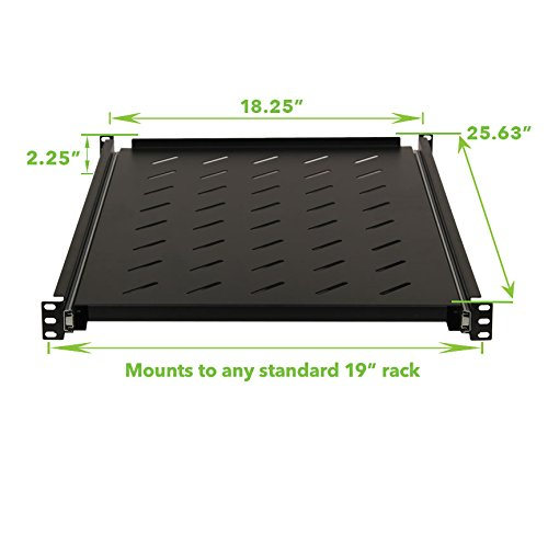 NavePoint Sliding Rack Vented Server Shelf 1U 19 Inch 4 Post Rack Mount 25.50 Inches (650mm) Deep