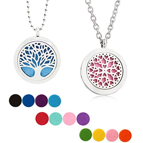 - 2 Pcs Essential Oil Diffuser Necklace, Two Patterns 316L Stainless Steel Locket Pendant Aromatherapy Diffuser Set with 12 Color Refill Pads
