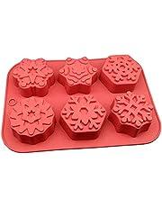 RJJX 6 holtes xmas sneeuwvlok vorm zeep siliconen mal kerst aroma gips gipsen ambachten schimmel sneeuw siliconen zeep kaars mallen