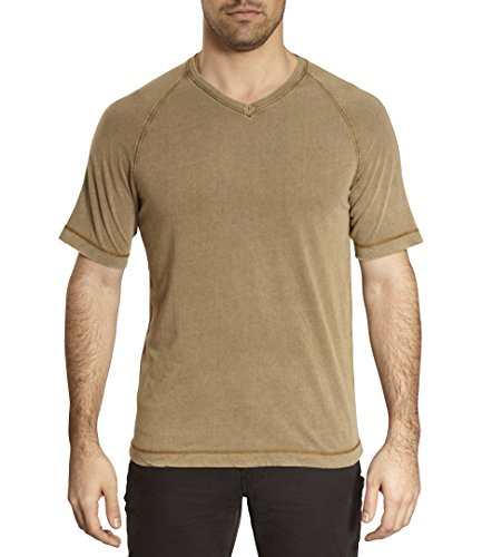 TADD by Thaddeus Dex V-Neck Raglan Short Sleeve Solid Color T Shirt Walnut Brown Size M -