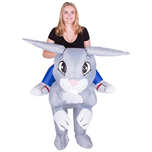 Cheap Rabbit Costumes (Bodysocks - Inflatable Rabbit Piggyback Blow Up Animal Farm Adult Fancy Dress Costume)