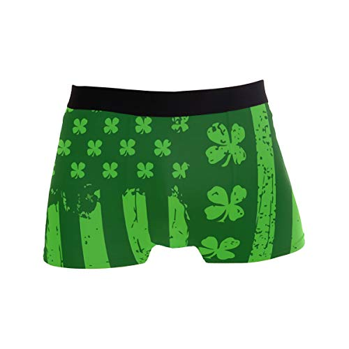 ALXX-HUAW Fashion Men's Boxer Briefs Irish Flag Shamrock Printed Underwear Breathable Soft Stretch Trunk Shorts