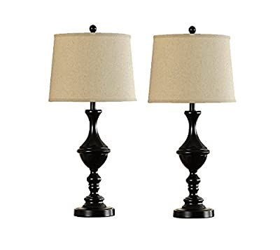 Catalina Lighting Jefferson Catalina Set 18842-002 2-Pack 22-inch Oil Rubbed Bronze Metal Trophy Table Lamps with Coffee Silken, Brown Shade