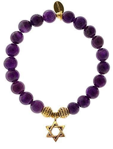 Evadane Natural Amethyst Gemstone Tibetan Bead Star Of David Charm Stretch Bracelet   Size 9 Inch   1 Ame G T Std 9