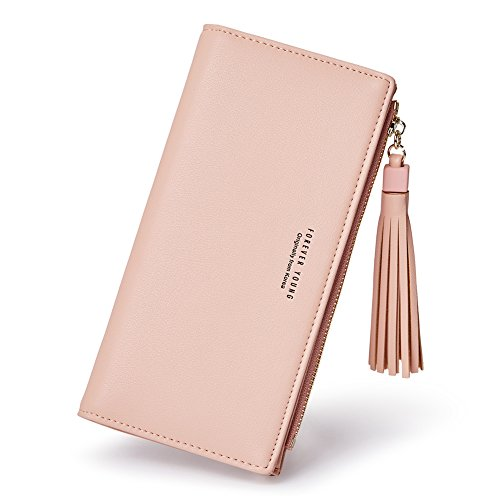 Wallets for Women Fashion Soft Leather Billfold Long Clutch Ladies Credit Card Holder Organizer Purse pink by Romere