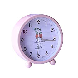 Alarm Clock LITING_Wang Simple Fashion Student Bedside Mute Small Children Cute Creative Bedroom Alarm Table Super Loud Sound Table Clock (Color : Pink)