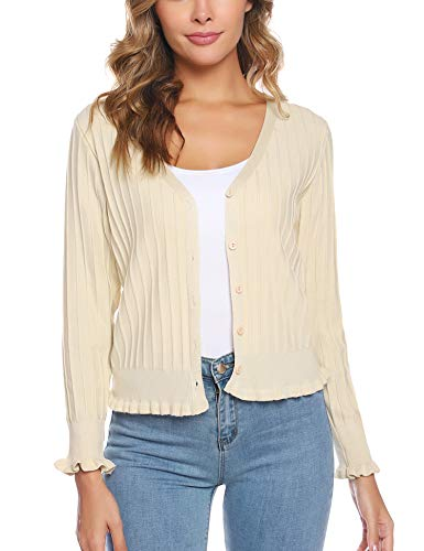 iClosam Women Knitted Long Sleeve Cropped Bolero Shrugs Button Down Cardigan Sweater