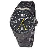 Torgoen T9 Matte Black GMT Pilot Watch | 42mm - Black Metal Strap