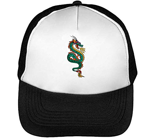 Hombre Blanco Beisbol Negro Snapback Gorras Dragon 68wqxnt