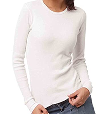 Green Outfitters Women's Junior 100% Organic Cotton Combed Thermal Long Sleeve Top (Soft White)