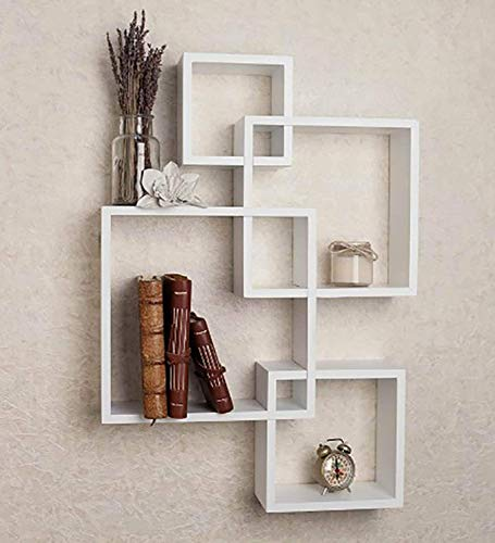 Woodcart Wooden 4 Intersecting Square Shape Wall Shelves   White